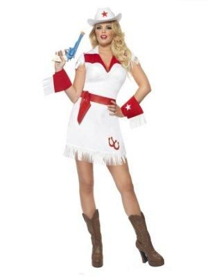 Smiffys Fever Red and White Cowgirl Costume Ladies Fancy Dress Outfit