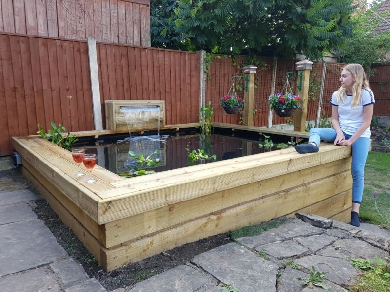 Railway sleepers ponds waterfalls fish pond gardens for Garden pond design using sleepers