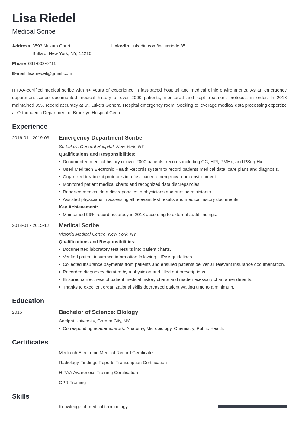 Medical Scribe Resume Example Template Minimo Medical Scribe Resume Examples Job Resume Examples