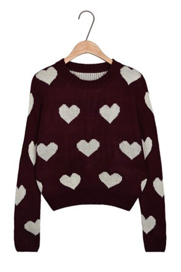 Sweet Heart Pattern Details Sweater [FKBJ10380]- US$ 19.99 - PersunMall.com