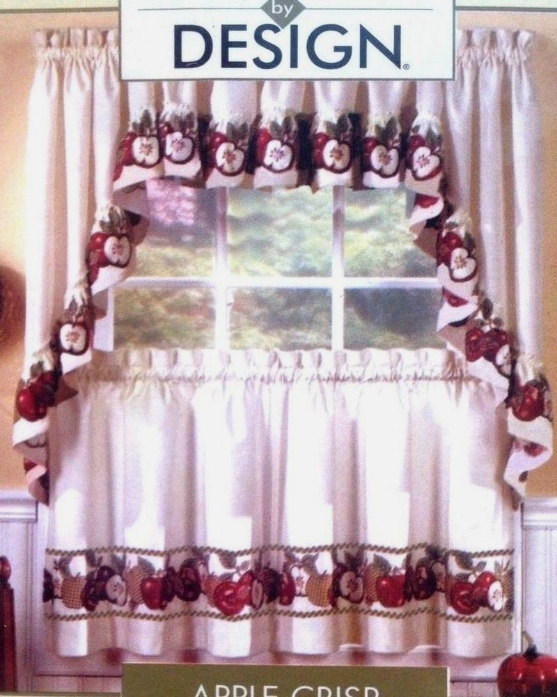 Interiors By Design Apple Crisp Red Green Kitchen Curtains Tiers Swag Valance Green Kitchen Curtains Apple