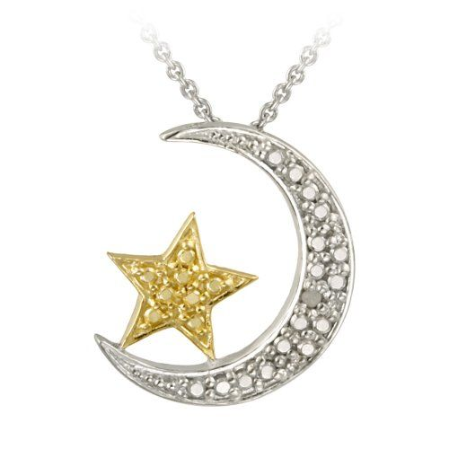 18k gold plated and sterling silver diamond accented moon and star 18k gold plated and sterling silver diamond accented moon and star pendant necklace 18 aloadofball Images