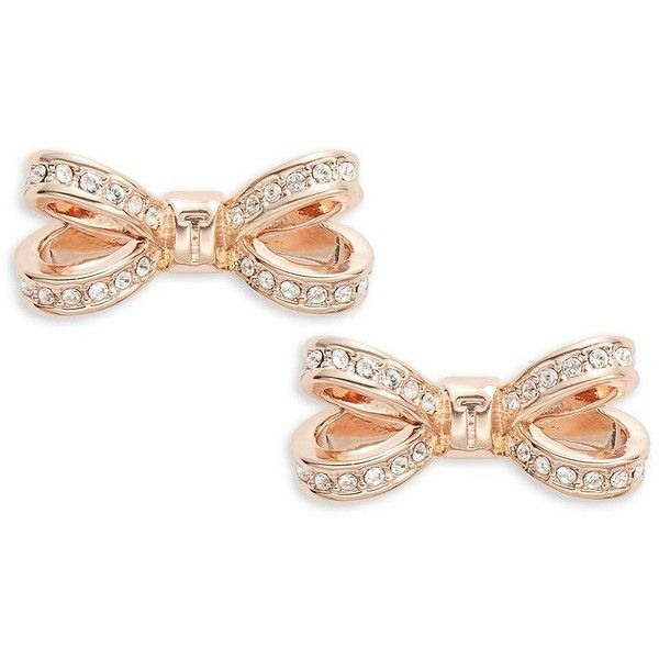546841a962a2 Rose Gold · Ted Baker London Opulent Pave Bow Crystal Olitta Earrings ( 65)  ❤ liked on Polyvore
