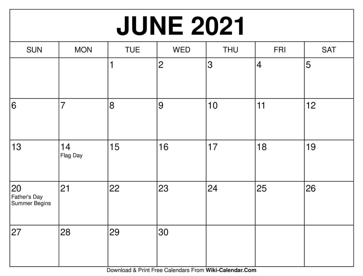 June 2021 Calendar | Free calendars to print, Calendar printables