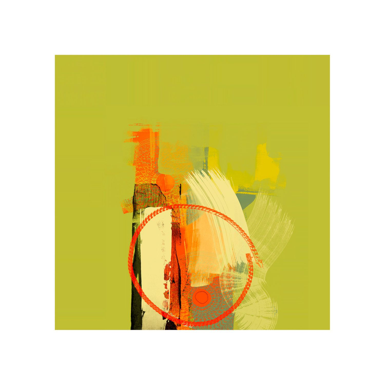 Green & Orange Abstract Art Giclee Print, Home Decor, Modern Artist ...