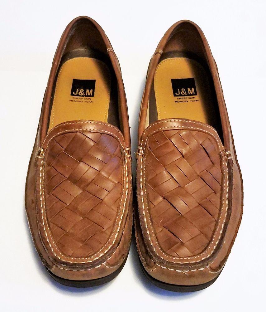7d2b301f1760d7 J M Johnston Murphy Mens Shoes Brown Leather Loafers Sheepskin Memory Foam  8.5  JMJohnstonMurphy  LoafersSlipOns