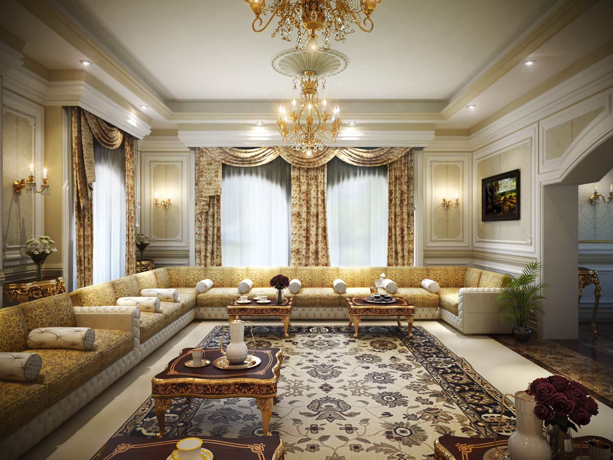 Luxury Majlis Visualization Classical Design Arabic