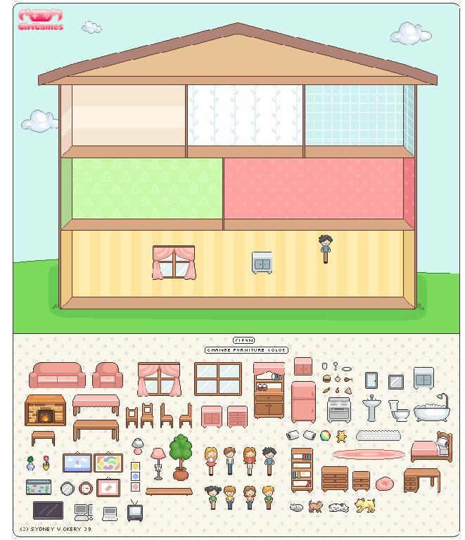 Crea una casa aquí. Arrastra los muebles y los personajes ... - photo#39