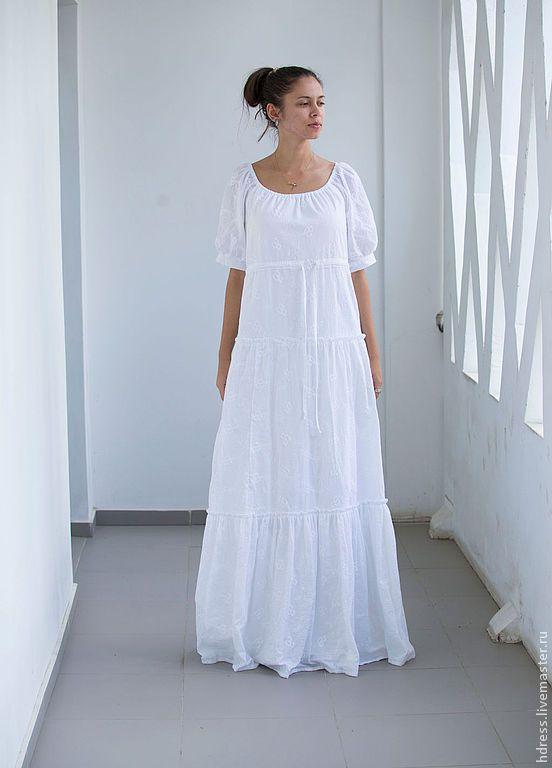 Купить или заказать Белое платье из шитья Нежность в