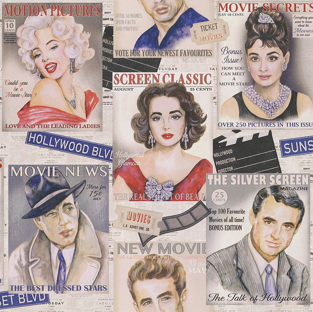 Rasch Tapete / Retro Tapete / Tapete Icons / Hollywood / James Dean / Marilyn