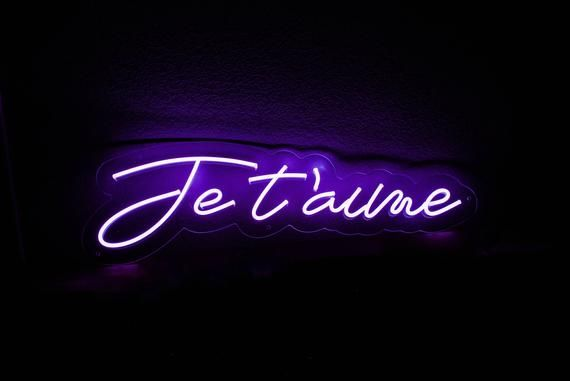 Je T'aime Love Neon Sign for Weddings, Events, or Home, Office, Parties Durable wall mount
