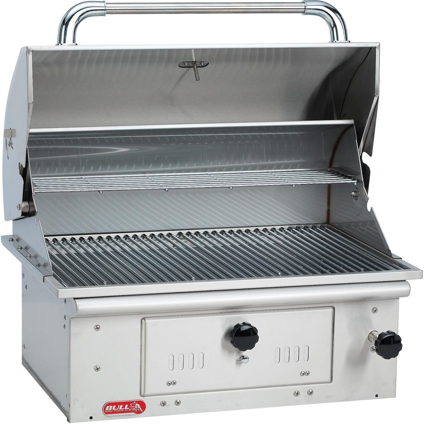 Bull Bison 30 Inch Built In Stainless Steel Charcoal Grill 67529 Bbqguys Built In Charcoal Grill Built In Grill Outdoor Kitchen Design
