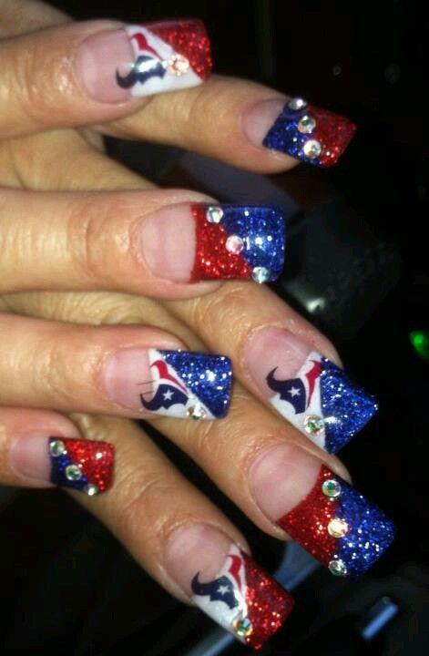 Football Nail Art Texans Houston Nails