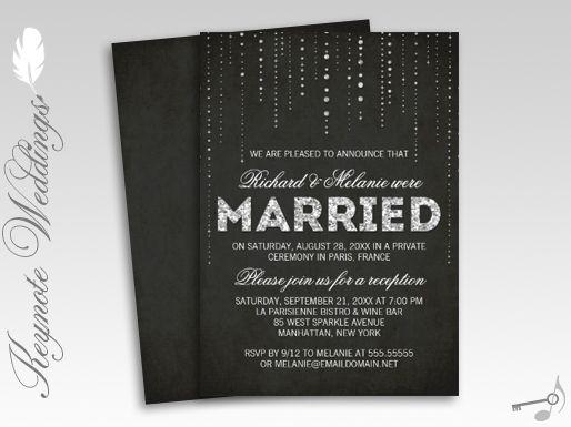 Wedding Invitation Thoughts: Sparkly Glitter Chalkboard Wedding Reception Only