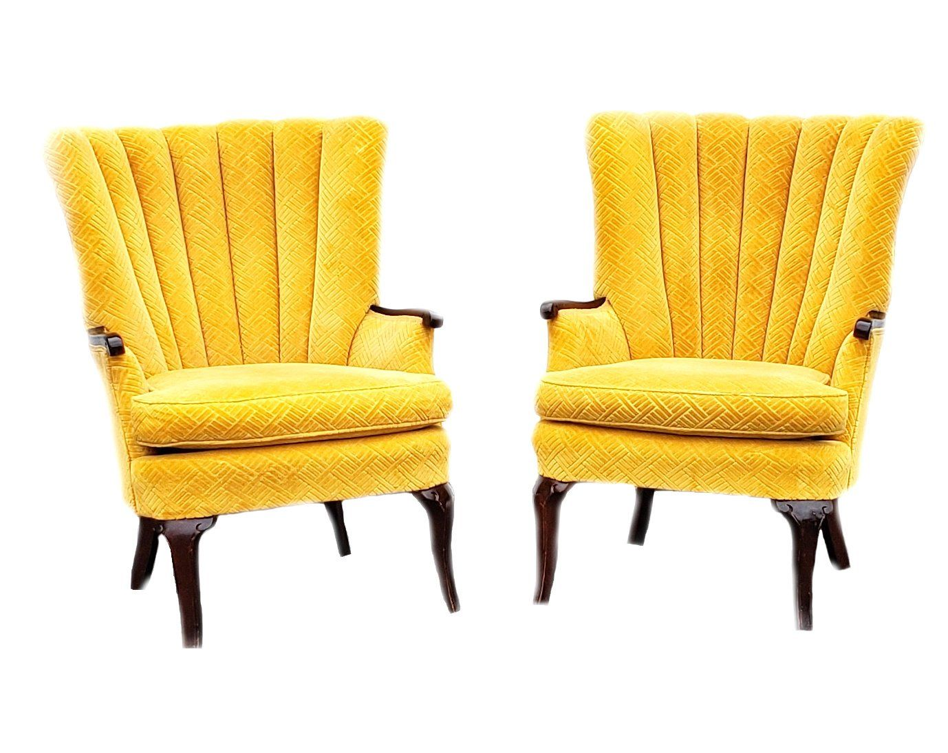 Pair Of Arm Chairs Vintage Yellow Gold Velvet Deco Accent