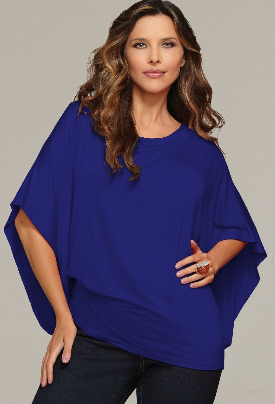 Plus Size Solid Kimono Sleeve Top in Royal Blue $24.99 ...