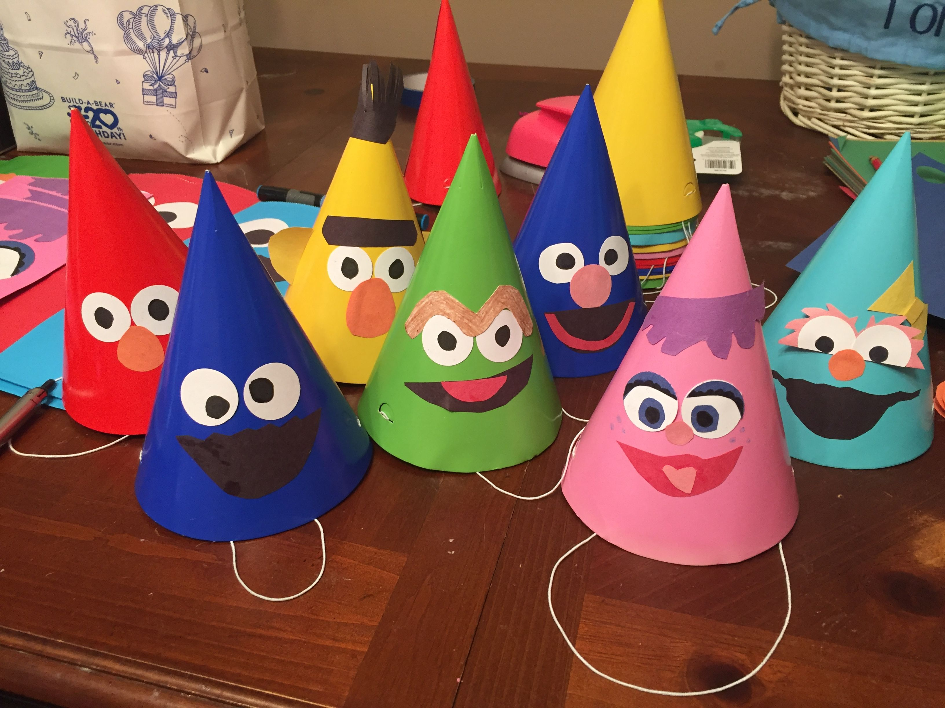 Sesame Street Birthday Party Hats Elmo Ideas 1st Girls