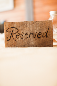 Reserved signs. Burnt into wooden blocks!   #reservedsigns #weddingsigns #reception ideas