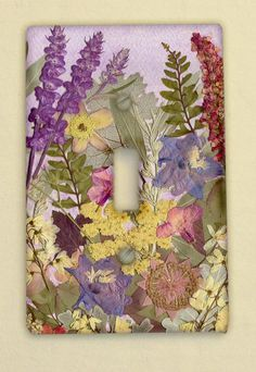 Light Switch Plate Pressed Flower Art