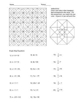 Solving Single Step Equations Color Worksheet   Equation ...