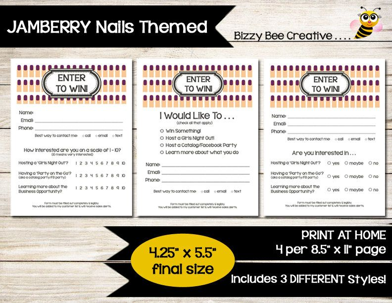 Jamberry Nails  Enter To Win  Door Prize  Drawing Slip  Raffle