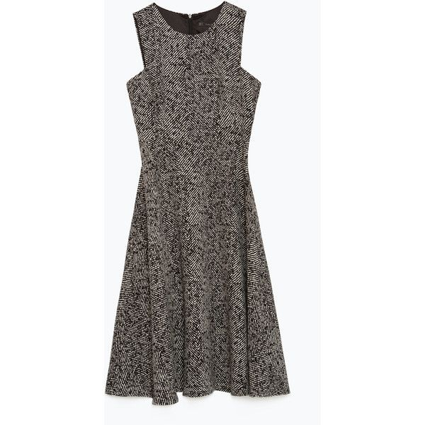 Zara Herringbone Dress (260 SAR) ❤ liked on Polyvore featuring dresses, herringbone dress, line dress and zara dresses