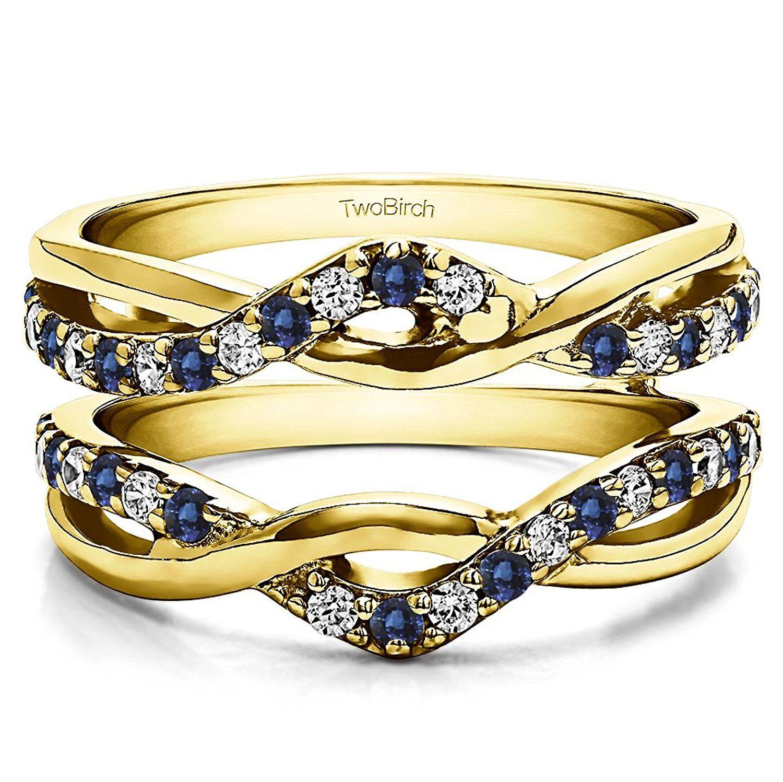 10k Gold Diamond and Sapphire Criss Cross Infinity Ring