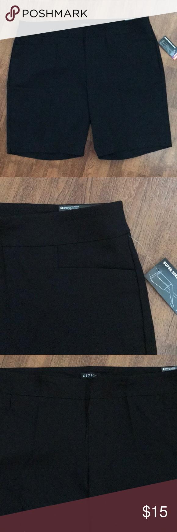 fd23857fd8f85 Two shallow front pockets. 77% rayon 20% nylon 3% spandex. Super stretch  fabric. (18w-20w) George Shorts Bermudas. Women s Black Plus Size Bermuda  ...