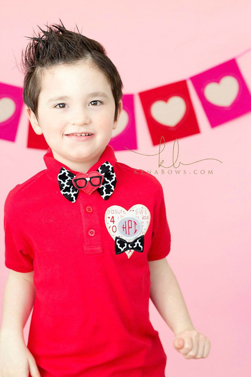 Valentine Heart Monogram Polo Shirt And Bow Tie Toddler Boy Red