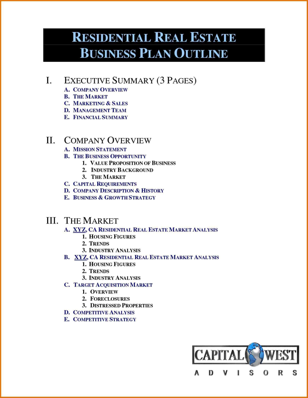 Real Estate Investment Partnership Business Plan Template Intended For Real Estate Business Plan Template Free Real Estate Business Plan Business Plan Outline