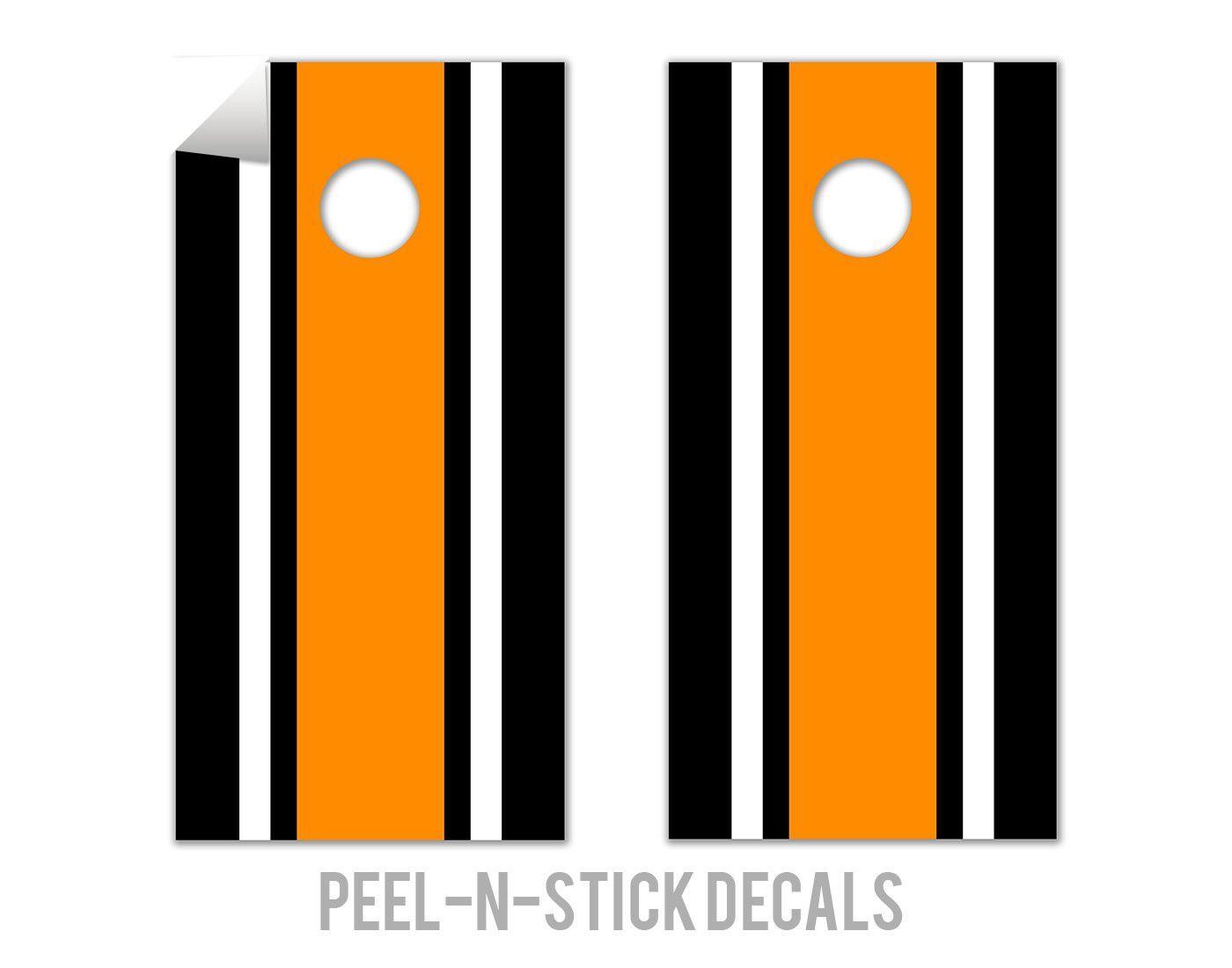 Classic Stripe - Black, White, Orange Decals