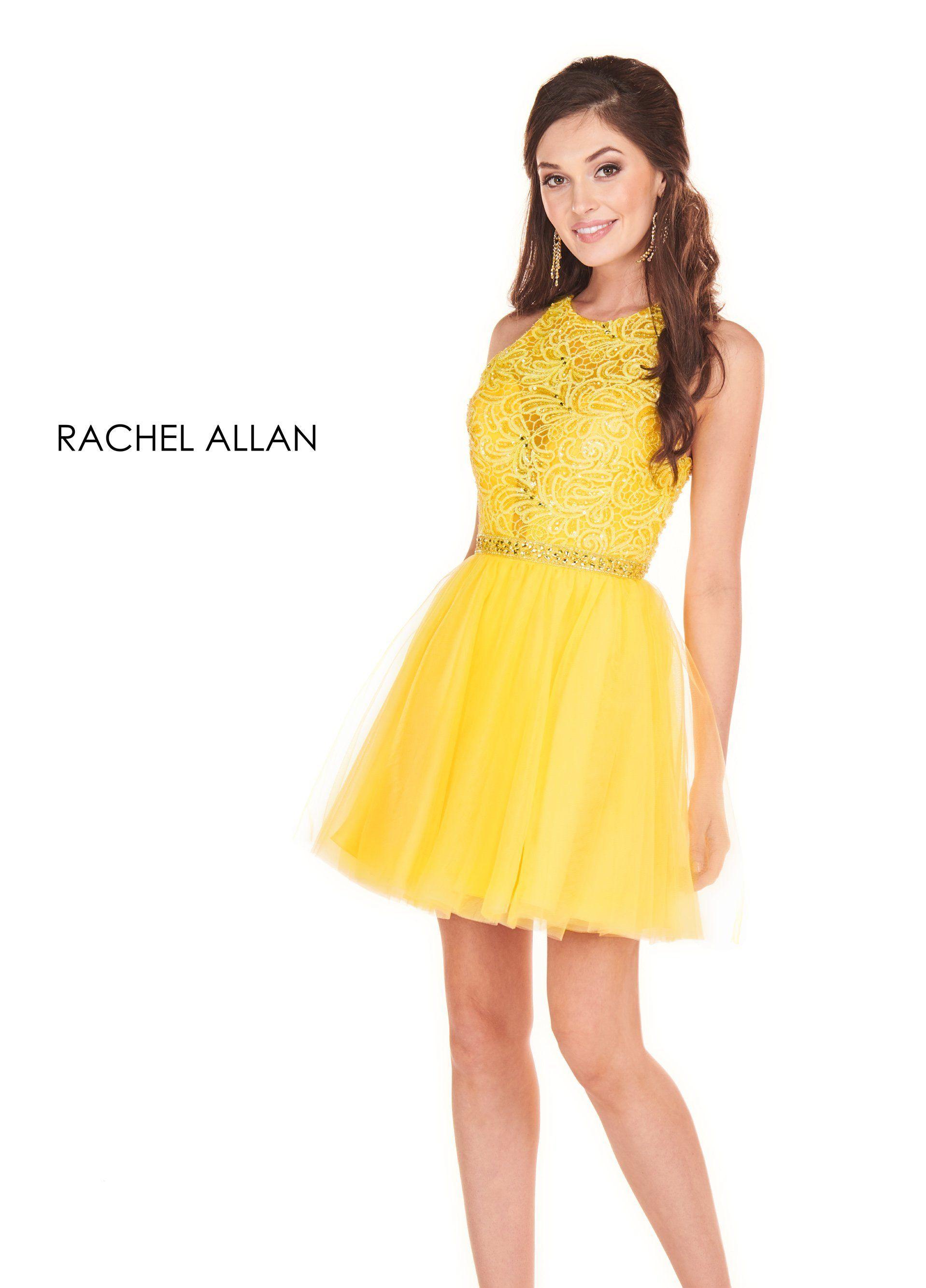 Rachel Allan 4054 Dress In 2021 Yellow Bridesmaid Dresses Short Yellow Homecoming Dresses Prom Dresses Yellow [ 2667 x 1917 Pixel ]
