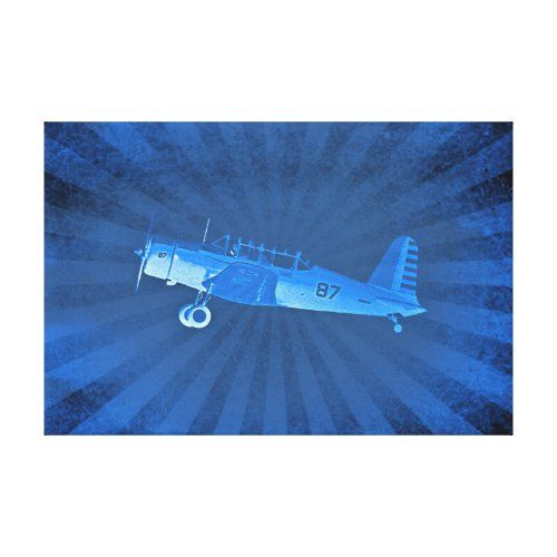 Retro Airplane #87 Blue Wrapped Canvas