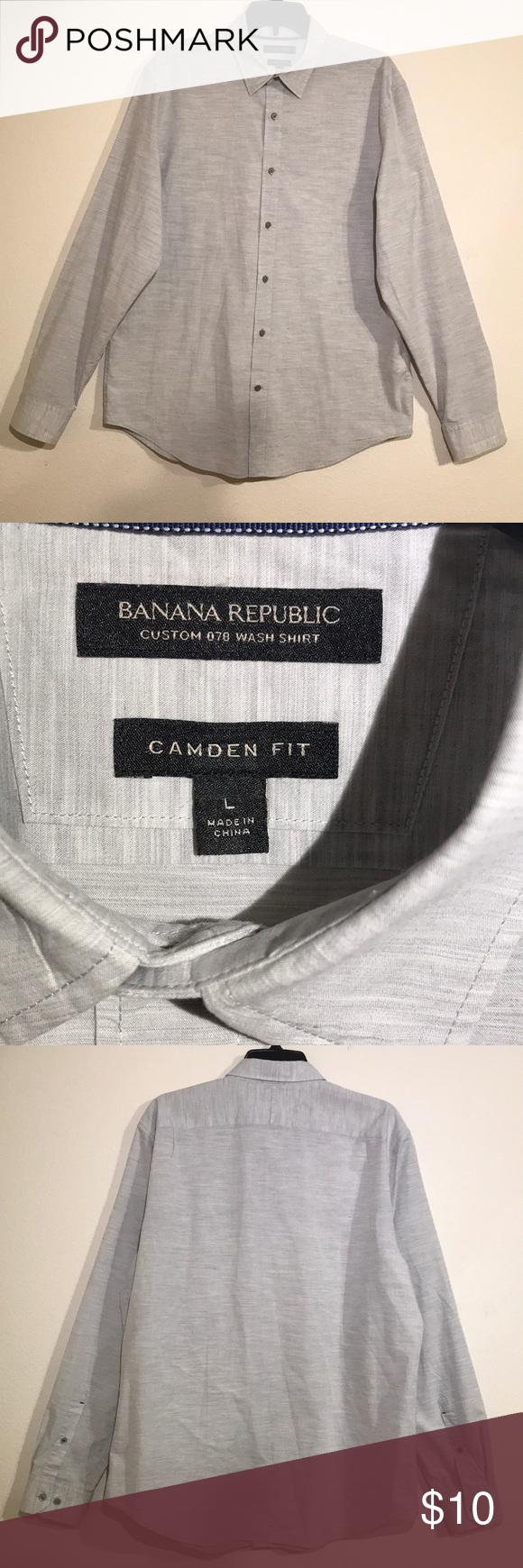 a483adda47d Banana Republic Camden Fit Custom Wash Shirt Button down shirt. Light grey.  Great condition. Banana Republic Tops Button Down Shirts