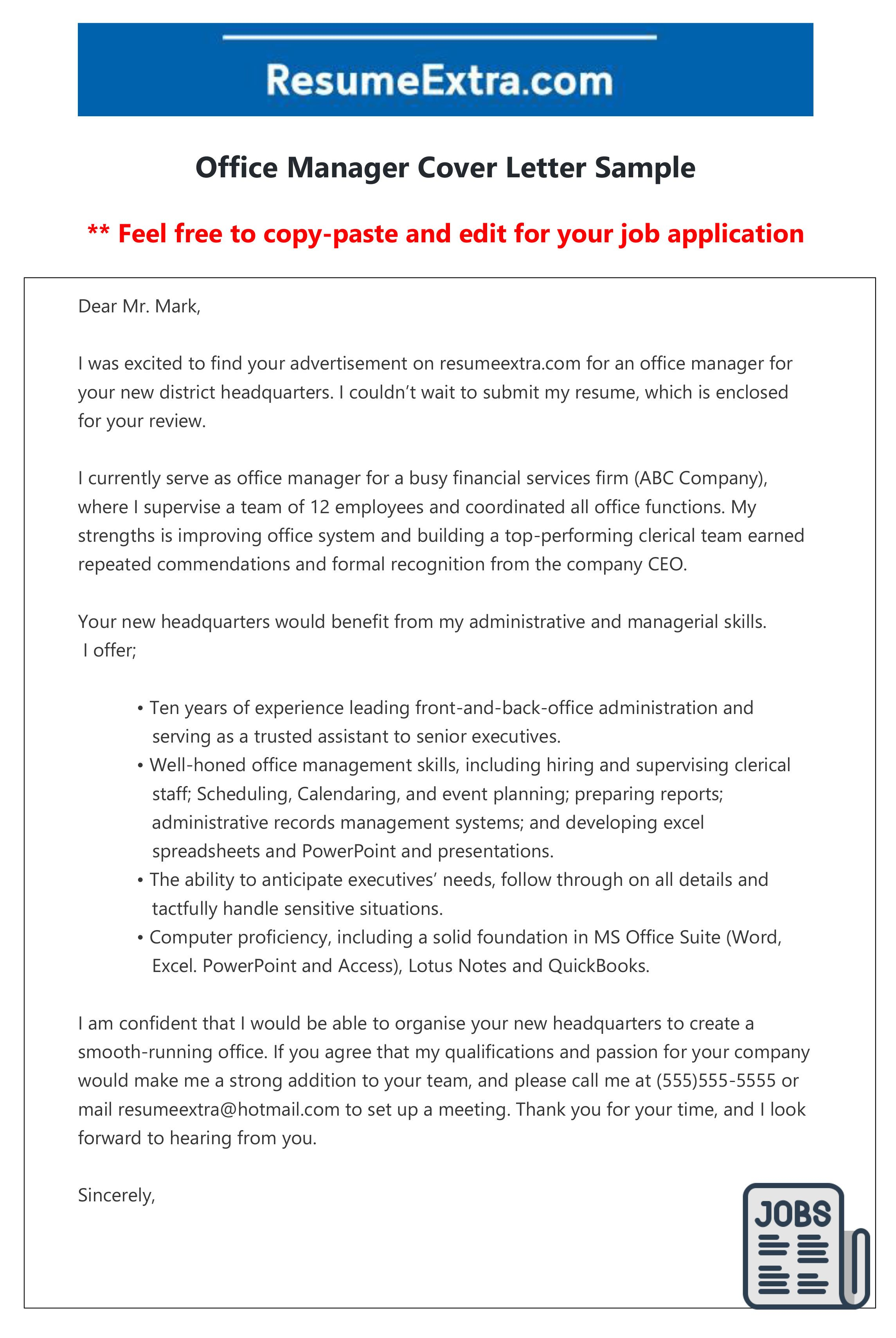 Free office manager cover letter sample, layout, template ...