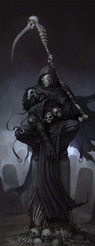 SELEKHEL: O Ceifador Divindade Intermediária Símbolo: Crânio e Foice Plano Astral: Abismo Tendência: Neutro e Mau Aspecto: Escuridão, Mortes, Serpentes e Submundo Seguidores: Necromantes, Assassinos, Clérigos Tendência dos Clérigos: L/M,N/M,C/M Arma Predileta: Foice Longa Domínios: Morte, Mal e Enganação