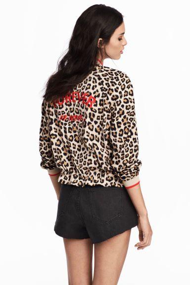 Satin Leopard Print Bomber Jacket