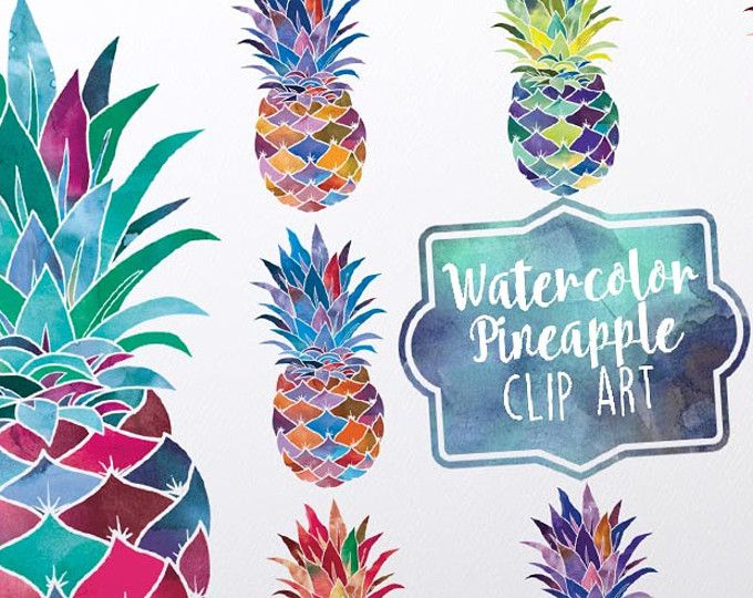 Pineapple Digital clip art   Watercolor pineapples   Set ...
