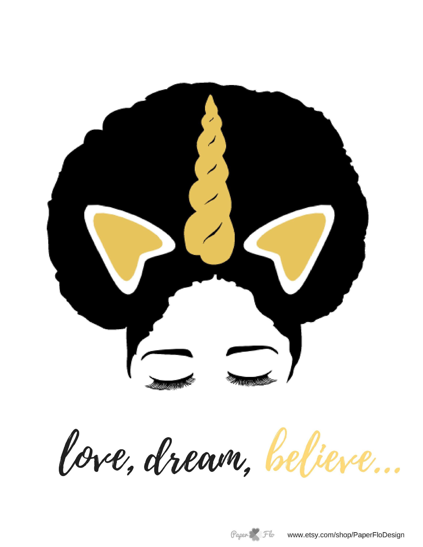 Free Printable Afro puff unicorn Black girl magic art