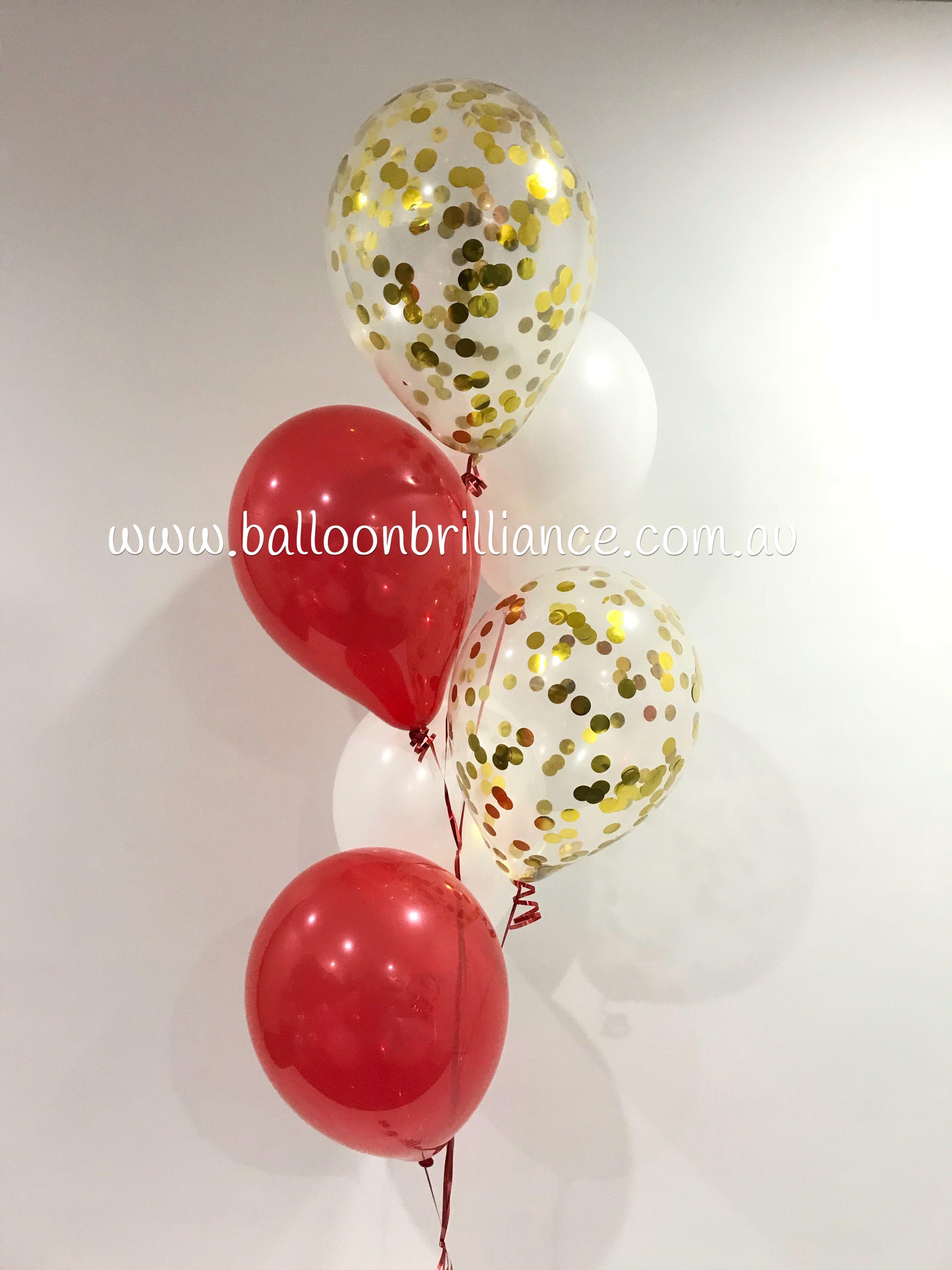 "6 Clear Red Paper Confetti Unique 12/"" Latex Balloons with Red Confetti"