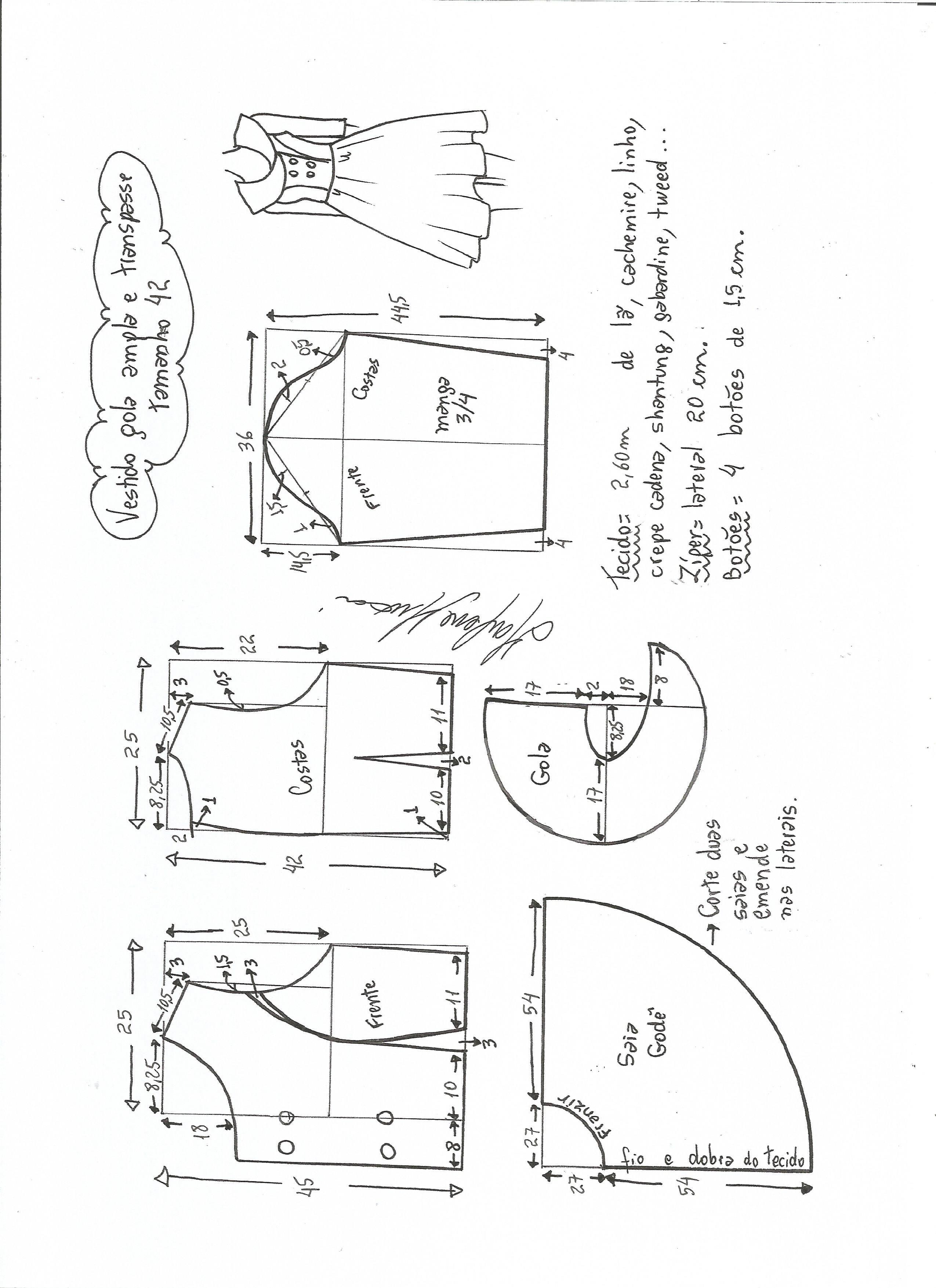 Patrón para confeccionar un vestido de cuello amplio con manga 3/4 ...
