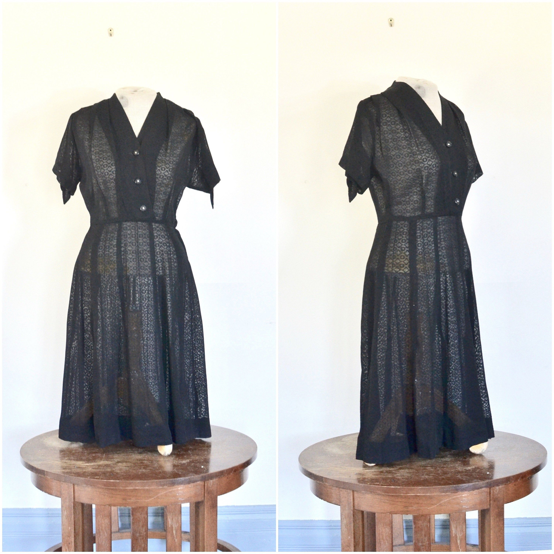 Pin By Langvintage On 1940 S Inspiration Classic Black Dress Shirtwaist Rayon Dress [ 3000 x 3000 Pixel ]