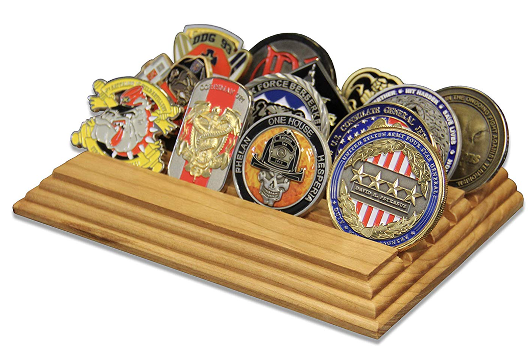 Military Coin Holder Stand Wooden 4 Row Challenge Coin Display Stand