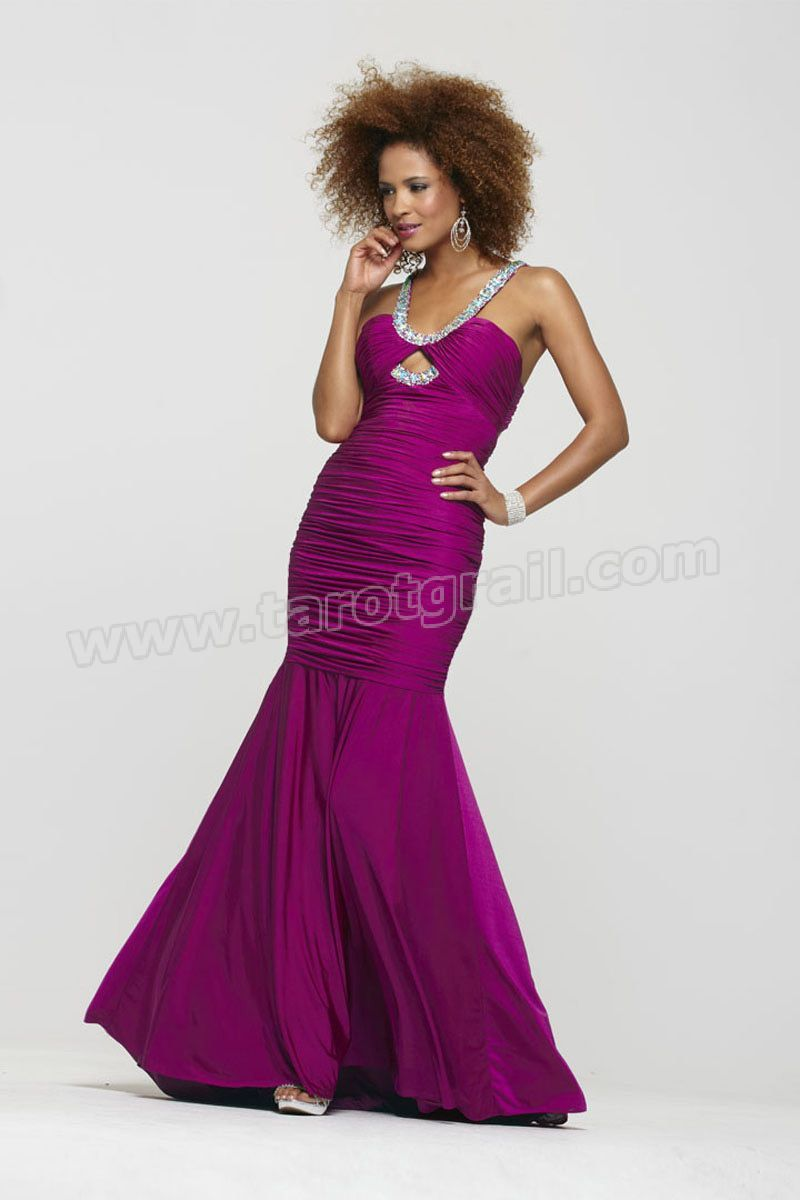 Mermaid Ruched Backless Ruched Purple Prom Dress | Prom Dresses ...