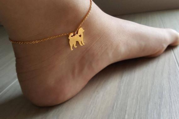 18k Gold Siberian Husky Dog Anklet,heart Siberian dog Anklet,Russian Dog Anklet,Cute Anklet,Birthday gift,Bridesmaid Gift,Christmas gift