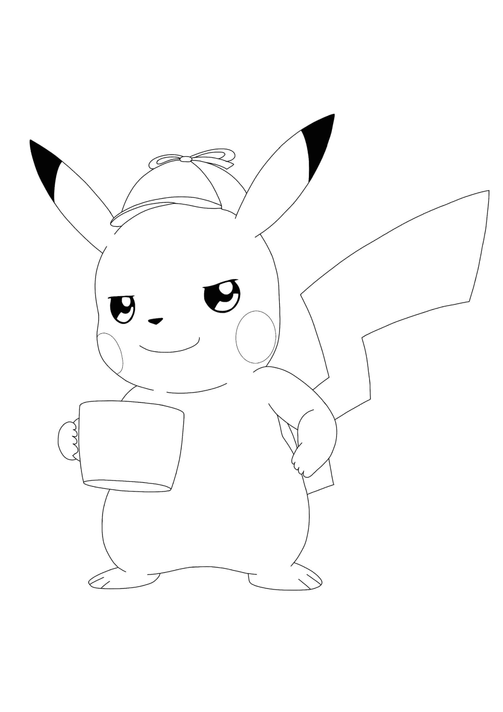 Detective Pikachu Drinks Coffee Coloring Pages - 6 Free Coloring