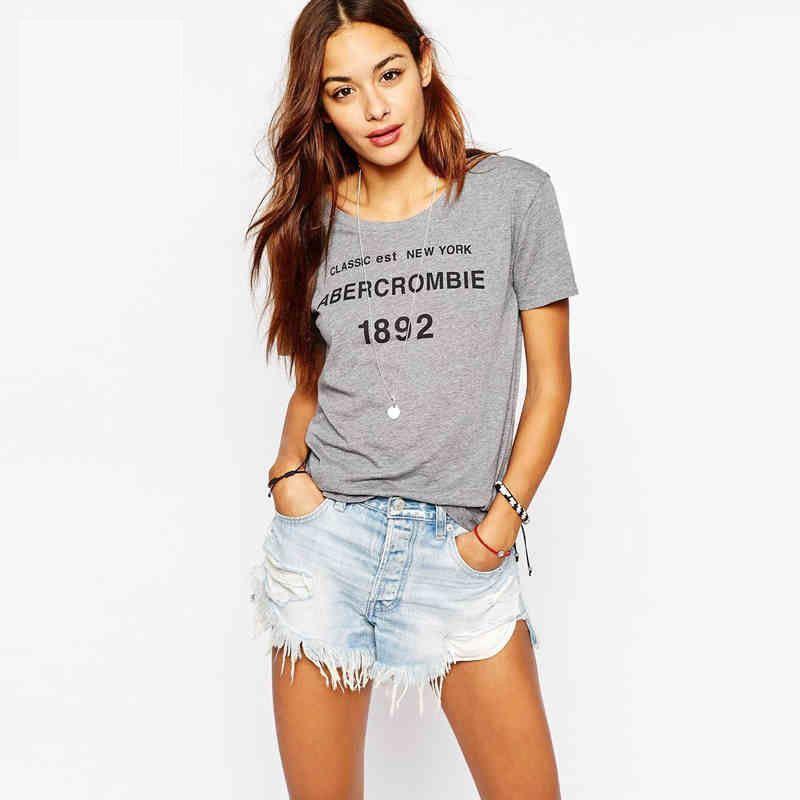 New Casual Women T-shirts Wild Short Sleeve Women T-shirts Smart Letter Print T-shirts