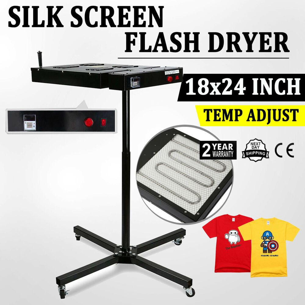 "18/"" X 24/"" Flash Dryer Silkscreen T-shirt Printing Curing Adjustable Height"