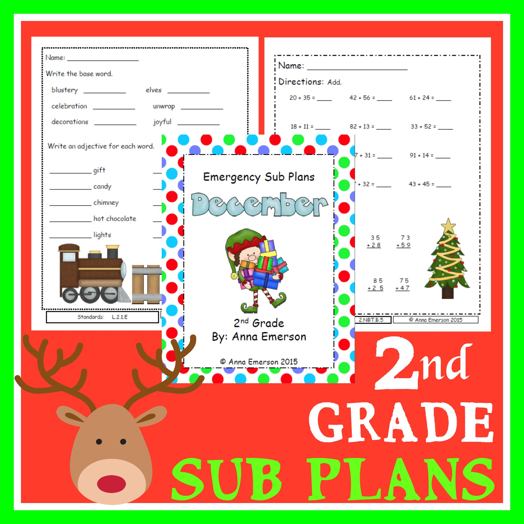 Emergency Sub Plans December For Second Grade