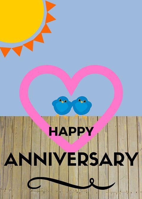 Happy Anniversary Cartoon Blank Card Customize Birds Personalize Happy Anniversary Cards Happy Anniversary Quotes Happy Anniversary